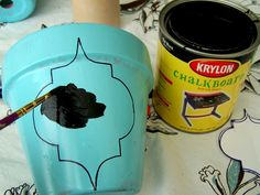 Terra cotta pot and chalkboard paint