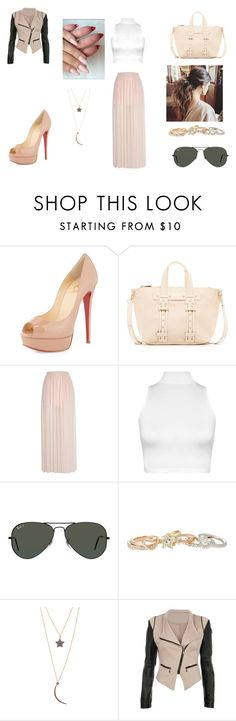 """""""Girly Look"""" by irishchick11 ❤ liked on Polyvore featuring Christian Louboutin, Steve Madden, WearAll, Ray-Ban, Lipsy and ADORNIA"""