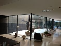 Sonic courtyard with Architettura Sonora's sound modules.  Private residence, CH.