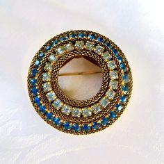 Vintage Rhinestone Brooch, Mesh Circle Pin, Cobalt Sky Blue, Vintage Rhinestone Jewelry #vintagebrooch #rhinestonebrooch #vintagepin #vintagejewelry