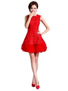 Red Lace Short A-line wedding Bridesmaid Dress & Wedding Dresses - at Jollychic