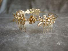Gold Metal Charms Gold Flower Comb Gold Leaf Ancient Greek hair comb headpiece headband wedding $48
