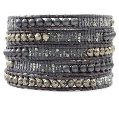 Chan Luu - Pyrite Mix Beaded Wrap Bracelet on Natural Grey Leather, $210.00 (http://www.chanluu.com/wrap-bracelets/pyrite-mix-beaded-wrap-bracelet-on-natural-grey-leather/)