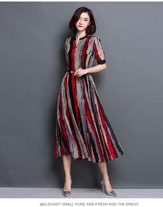 Sanwell 2016 Women Clothing Striped Print Dress Short Sleeve Women Dress Summer Loose Casual High-end A-line Vintage Dress H024