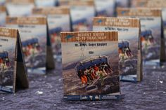 Skiing & Snowboarding Bar & Bat Mitzvah Theme Ideas - Trail Map Escort Cards by The Event of a Lifetme - mazelmoments.com