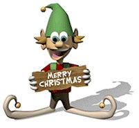 Elf with Merry Christmas sign animated