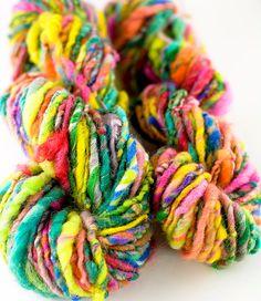 Superhero  Hand spun art yarn by MagnoliaHandspun on Etsy    LOVE THIS!! - one of the best yarn spinners I know... Spinning Wool, Hand Spinning, Wool Yarn, Wool Felt, Yarn Spinner, Yarn Inspiration, Knitting Projects, Knitting Ideas, Art Textile