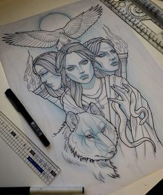 Sketch for a back piece coming up this week #neotrad #neotraditional #greek…