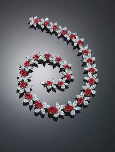 Ruby and diamond necklace: