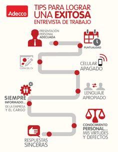 Tips para lograr una exitosa entrevista de trabajo # infografía #empleo #RRHH @adecco_es                                                                                                                                                      Más