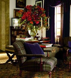 wishespleasures: Plaid upholstered chairs, paisley chest, drapery, cable knit pillows