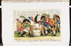 Bodleian Libraries, Iohn Bull bringing Bony's nose to the grindstone.Satire on the Napoleonic wars. (British political cartoon)
