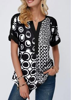 Tops For Women Roll Cuff Split Neck Circle Print Blouse Stylish Tops For Girls, Trendy Tops For Women, Blouses For Women, Royal Blue Blouse, Printed Blouse, Fashion Outfits, Womens Fashion, Trendy Fashion, Short Sleeve Blouse