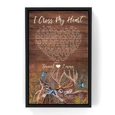 Custom Song Lyrics Couple Deer Canvas Wall Art - Frame / 16 x 24