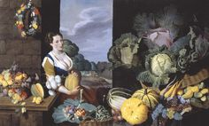 Sir Nathaniel Bacon 'Cookmaid with Still Life of Vegetables and Fruit', c.1620–5
