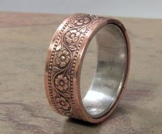 Copper and Silver floral chained engagement by VictorianMoon