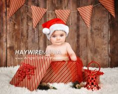 Newborn, Baby, Toddler, Child, Christmas Present Photography Digital Backdrop Prop for Photographers - christmas presents Baby Christmas Photos, Xmas Photos, Christmas Mini Sessions, Newborn Christmas, Holiday Pictures, Christmas Minis, Babies First Christmas, Christmas Presents, Toddler Christmas Pictures