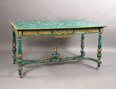 Fantastic Quality Late 19th Century Gilt Bronze Mounted Louis XVI Style Malachite Center Table  By Henry Dasson 1891