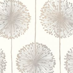 Muriva Dandelion Floral Wallpaper Cream \/ Grey \/ Gold - Muriva from I love wallpaper UK Beige Wallpaper, Wallpaper Uk, Feature Wallpaper, Embossed Wallpaper, Flower Wallpaper, Pattern Wallpaper, Grey And Cream Wallpaper, Wallpaper Stairs, Wallpaper Designs