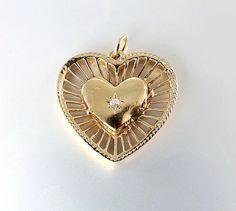 14K Heart Locket Pendant Diamond Heart Solid Gold by RMSjewels