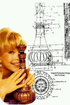 "Barbara Eden, genie bottle and genie bottle production sketch/ diagram for ""I Dream of Jeannie."""