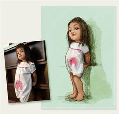 send in a picture and have a custom made illustration print made. this is so sweet... looks like disney characters. would love to do this for my girls.