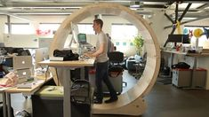 These Guys Built The Ultimate Human Hamster Wheel Standing Desk - Is this the ultimate way to stay active at work? To prevent themselves from sitting, these guys built a human hamster wheel for their standing desk. Bureau Design, Standing Desk Chair, Standing Desks, Office Furniture, Furniture Design, Eco Furniture, Woodworking Furniture, Furniture Plans, Home Office