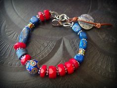 Gemstone Bracelet, Red Coral, Lapis Lazuli, African Beads, Aztec Coin, Enameled Beads, Silver, Beaded Bracelet by YuccaBloom on Etsy
