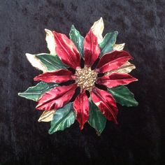 Christmas Pointsettia Gerry's Pin Brooch by FindingYesterday