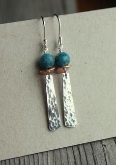 Martillado de Zen plata pendientes turquesa pendientes