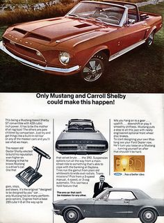 1968 Ford Shelby Mustang GT500 Advertising Road & Track April 1968