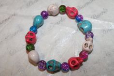 Skull and Colourful Crackle Glass Bead by Bellezzaamano on Etsy, £3.50