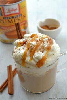 Caramel Pumpkin Spice Lattes -- Save money AND calories this fall with these homemade pumpkin spice lattes!