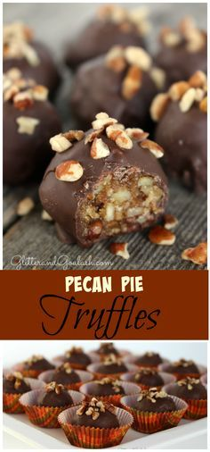 Delicious Pecan Pie Truffles, perfect for Fall or Thanksgiving! These Pecan Pie Truffles contain all of the delicious qualities of a pecan pie, but in a bite size portion. Pecan Desserts, Pecan Recipes, Just Desserts, Sweet Recipes, Cookie Recipes, Delicious Desserts, Yummy Treats, Sweet Treats, Bite Size Desserts