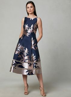 Adrianna Papell - Floral Print Fit & Flare Dress, Blue, hi-res Day Dresses, Dress Outfits, Evening Dresses, Fashion Dresses, Elegant Dresses, Pretty Dresses, Beautiful Dresses, Fit Flare Dress, Fit And Flare