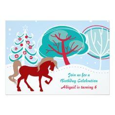 Festive Snowy Winter Horse Birthday Invitations for Girls
