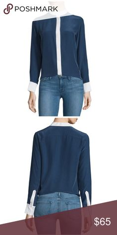 """FRAME DENIM Classic Two Tone Silk Shirt EUC Excellent Condition  100% Silk Navy & Ivory Bust:18"""" Length (shoulder to hem):25"""" Sleeves:24"""" Frame Denim Tops Button Down Shirts"""