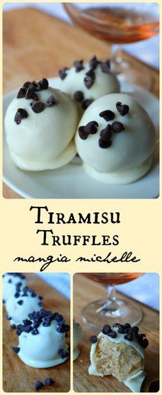 Tiramisu truffles are a bite-sized delectable treat ~ www.mangiamichelle.com