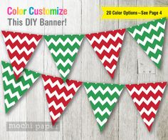 Red & Green Chevron Banner DIY Custom 2Color by MochiPaperShop, $4.50
