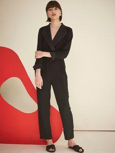 d3ccc7eb1c0 Ninette Black Tuxedo Jumpsuit by KITRI Studio Wide Leg Trousers