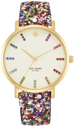 Kate Spade Watch, Women's Metro Grand Multi-Color Glitter Leather Strap 38mm 1YRU0297A on shopstyle.co.uk