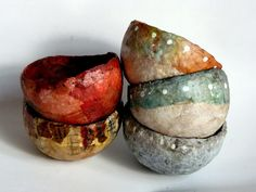 Art Bowls by Kim Henkle ~ LOVE her art and her use of tea bag papers!
