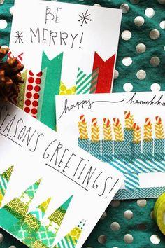 crear tarjetas de navidad hechas a mano con washi tape                                                                                                                                                                                 Más