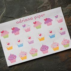 Cupcake Stickers 18 ct for Erin Condren Life Planner, Plum Paper Planner, Filofax, Kikki K, Calendar or Scrapbook by adrianapiper on Etsy