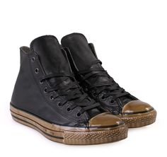 CHUCK TAYLOR  Converse by John Varvatos (150176C) Black Leather Ankle's High-cut Sneakers with Laces. Μαύρα ανδρικά δερμάτινα παπούτσια μποτάκια με κορδόνια. John Varvatos, Converse, Chuck Taylors, High Tops, High Top Sneakers, Celebs, Men, Shoes, Black