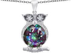 Star K Large 10mm Round Rainbow Mystic Quartz Good Luck Owl Pendant Necklace
