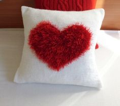 Valentine knit pillow cover Heart knit pillow by Adorablewares