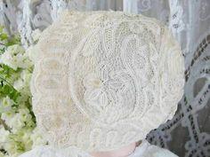 Gorgeous Antique Bobbin Lace Baby Doll Bonnet Lavish Handmade Laces