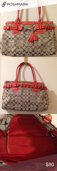 Coach bag Beautiful Coach med/large bag. It is tan with orange. In excellent condition. The one handle is a little out of shape because it's been sitting with other bags. Coach Bags Totes