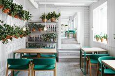 Vino Veritas is a restaurant design in oslo by Masquespacio with a mix of Scandinavian style and Andalusian tradition - ITALIANBARK interior design blog - green white interiors - petrol green decor